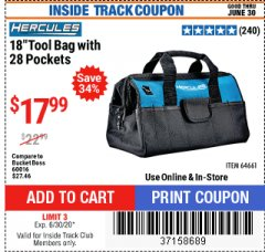 "Harbor Freight ITC Coupon HERCULES 18"" TOOL BAG WITH 28 POCKETS Lot No. 64661 Expired: 6/30/20 - $17.99"