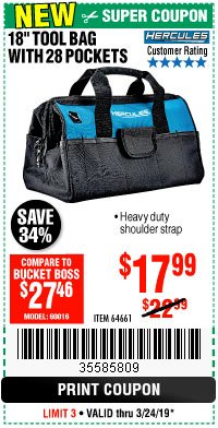 "Harbor Freight Coupon HERCULES 18"" TOOL BAG WITH 28 POCKETS Lot No. 64661 Expired: 3/24/19 - $17.99"