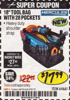 "Harbor Freight Coupon HERCULES 18"" TOOL BAG WITH 28 POCKETS Lot No. 64661 Expired: 6/30/19 - $17.99"