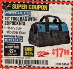 "Harbor Freight Coupon HERCULES 18"" TOOL BAG WITH 28 POCKETS Lot No. 64661 Expired: 7/31/19 - $17.99"