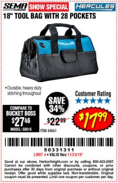 "Harbor Freight Coupon HERCULES 18"" TOOL BAG WITH 28 POCKETS Lot No. 64661 Expired: 11/24/19 - $17.99"
