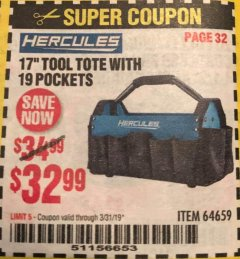 "Harbor Freight Coupon HERCULES 17"" TOOL TOTE WITH 19 POCKETS Lot No. 64659 Expired: 3/31/19 - $32.99"