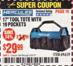 "Harbor Freight Coupon HERCULES 17"" TOOL TOTE WITH 19 POCKETS Lot No. 64659 Expired: 4/30/19 - $29.99"