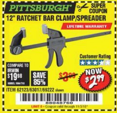 "Harbor Freight Coupon 12"" RATCHET BAR CLAMP/SPREADER Lot No. 46807/68975/69221/69222/62123/63017 Expired: 11/3/18 - $2.99"