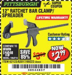 "Harbor Freight Coupon 12"" RATCHET BAR CLAMP/SPREADER Lot No. 46807/68975/69221/69222/62123/63017 EXPIRES: 6/16/19 - $2.99"
