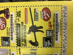 "Harbor Freight Coupon 12"" RATCHET BAR CLAMP/SPREADER Lot No. 46807/68975/69221/69222/62123/63017 Expired: 3/4/20 - $2.99"