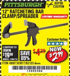 "Harbor Freight Coupon 12"" RATCHET BAR CLAMP/SPREADER Lot No. 46807/68975/69221/69222/62123/63017 Expired: 7/2/20 - $2.99"