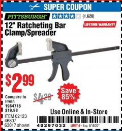 "Harbor Freight Coupon 12"" RATCHET BAR CLAMP/SPREADER Lot No. 46807/68975/69221/69222/62123/63017 Expired: 8/16/20 - $2.99"