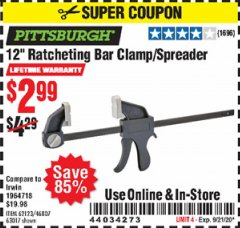 "Harbor Freight Coupon 12"" RATCHET BAR CLAMP/SPREADER Lot No. 46807/68975/69221/69222/62123/63017 Expired: 9/21/20 - $2.99"