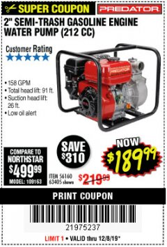 "Harbor Freight Coupon 2"" SEMI-TRASH GASOLINE ENGINE WATER PUMP 212CC Lot No. 56160 Expired: 12/8/19 - $189.99"