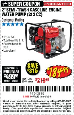 "Harbor Freight Coupon 2"" SEMI-TRASH GASOLINE ENGINE WATER PUMP 212CC Lot No. 56160 Valid: 3/11/20 - 6/30/20 - $184.99"