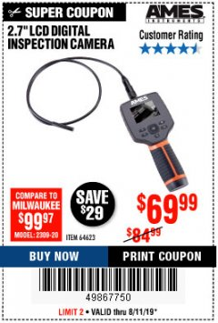 "Harbor Freight Coupon AMES 2.4"" LCD DIGITAL INSPECTION CAMERA WITH RECORDER Lot No. 64623 Expired: 8/11/19 - $69.99"