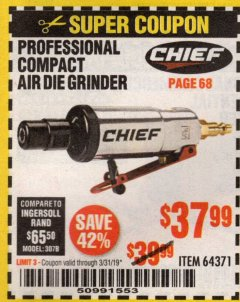 Harbor Freight Coupon AIR DIE GRINDER Lot No. 64371 Expired: 3/31/19 - $37.99