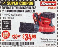 "Harbor Freight Coupon BAUER 20 VOLT LITHIUM CORDLESS 5"" RANDOM ORBIT SANDER Lot No. 64943 EXPIRES: 5/31/19 - $34.99"