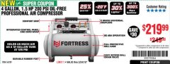 Harbor Freight Coupon FORTRESS 4 GALLON, 1.5 HP, 200 PSI OIL-FREE PROFESSIONAL AIR COMPRESSOR Lot No. 56339 Expired: 3/24/19 - $219.99