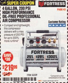 Harbor Freight Coupon FORTRESS 4 GALLON, 1.5 HP, 200 PSI OIL-FREE PROFESSIONAL AIR COMPRESSOR Lot No. 56339 Expired: 4/30/19 - $219.99