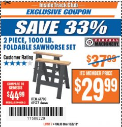 Harbor Freight ITC Coupon TWO PIECE FOLDABLE SAW HORSE SET Lot No. 61700/41577 Expired: 10/9/18 - $29.99