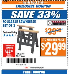 Harbor Freight ITC Coupon TWO PIECE FOLDABLE SAW HORSE SET Lot No. 61700/41577 Expired: 12/18/18 - $29.99