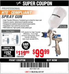 Harbor Freight Coupon SPECTRUM PROFESSIONAL HTE COMPLIANT 20 OZ. GRAVITY FEED SPRAY GUN Lot No. 64824 Expired: 4/22/19 - $99.99