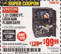 Harbor Freight Coupon 1.51 CUBIC FT. LOCK GUN SAFE Lot No. 64010/64009 EXPIRES: 5/31/19 - $99.99