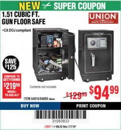 Harbor Freight Coupon 1.51 CUBIC FT. LOCK GUN FLOOR SAFE Lot No. 64010 Expired: 7/7/19 - $94.99