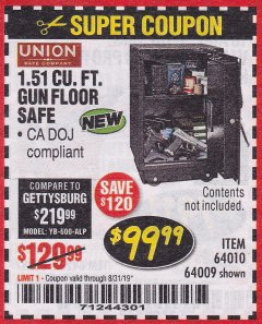 Harbor Freight Coupon 1.51 CUBIC FT. LOCK GUN FLOOR SAFE Lot No. 64010 Expired: 8/31/19 - $99.99