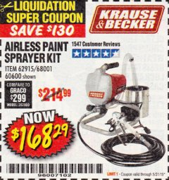 Harbor Freight Coupon AIRLESS PAINT SPRAYER KIT Lot No. 62915/68001/60600 EXPIRES: 5/31/19 - $168.29