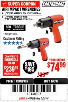 "Harbor Freight Coupon AIR IMPACT WRENCHES - 1/2"" PRO WRENCH OR 1/2"" PRO WRENCH WITH 2"" EXTENDED ANVIL Lot No. 62627/68424/62746 Expired: 3/3/19 - $74.99"