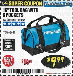 Harbor Freight Coupon HERCULES 16 IN. TOOL BAG Lot No. 63637 Expired: 4/30/19 - $9.99