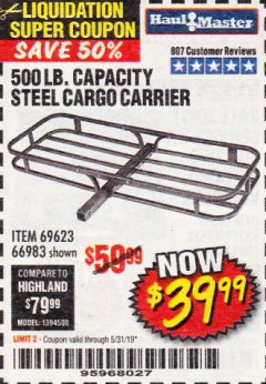 Harbor Freight Coupon 500 LB. CAPACITY DELUXE STEEL CARGO CARRIER Lot No. 69623/66983 Valid Thru: 5/31/19 - $39.99