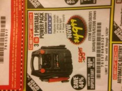 Harbor Freight Coupon 3 IN 1 PORTABLE POWER PACK  Lot No. 56349/38391/62376/64083/62306 Valid Thru: 1/4/20 - $49.99