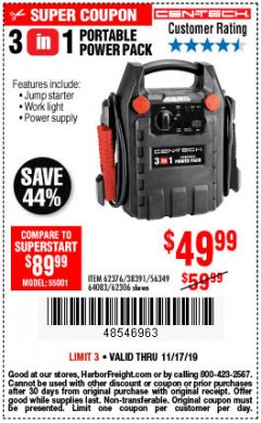 Harbor Freight Coupon 3 IN 1 PORTABLE POWER PACK  Lot No. 56349/38391/62376/64083/62306 Expired: 11/17/19 - $49.99