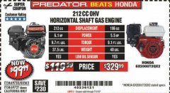 Harbor Freight Coupon PREDATOR 6.5 HP (212 CC) OHV HORIZONTAL SHAFT GAS ENGINES Lot No. 60363/68120/69730/68121/69727 Expired: 7/1/19 - $99.99