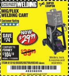 Harbor Freight Coupon MIG-FLUX WELDING CART Lot No. 69340/60790/90305/61316 Expired: 7/1/19 - $29.99