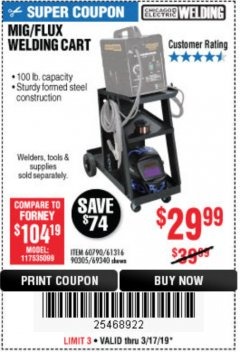 Harbor Freight Coupon MIG/FLUX WELDING CART Lot No. 60790/61316/90305/69340 Expired: 3/17/19 - $29.99