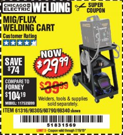 Harbor Freight Coupon MIG/FLUX WELDING CART Lot No. 60790/61316/90305/69340 Expired: 7/19/19 - $29.99