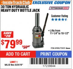 Harbor Freight ITC Coupon 30 TON HYDRAULIC HEAVY DUTY BOTTLE JACK Lot No. 69484/93437 Valid Thru: 9/24/19 - $79.99