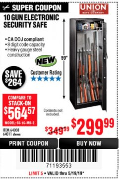 Harbor Freight Coupon 10 GUN ELECTRONIC SECURITY SAFE Lot No. 64008/64011 EXPIRES: 5/19/19 - $299.99