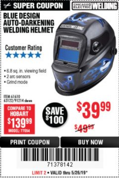 Harbor Freight Coupon BLUE DESIGN AUTO-DARKENING WELDING HELMET Lot No. 61610,63122/91214 EXPIRES: 5/26/19 - $39.99
