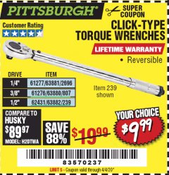Harbor Freight Coupon CLICK-TYPE TORQUE WRENCHES Lot No. 61277/63881/2696/61276/63880/807/62431/63882/239 EXPIRES: 6/30/20 - $9.99