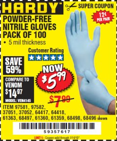Harbor Freight Coupon POWDER-FREE NITRILE GLOVES PACK OF 100 (5 MIL) Lot No. 97581/97582/37051/37052/64417/64418/61363/68497/61360/61359/68498/68496 Expired: 7/14/19 - $5.99
