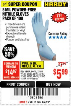 Harbor Freight Coupon POWDER-FREE NITRILE GLOVES PACK OF 100 (5 MIL) Lot No. 97581/97582/37051/37052/64417/64418/61363/68497/61360/61359/68498/68496 Expired: 4/7/19 - $5.99
