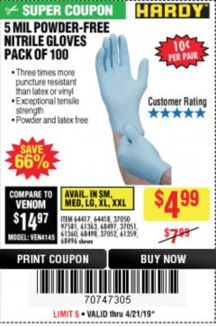 Harbor Freight Coupon POWDER-FREE NITRILE GLOVES PACK OF 100 (5 MIL) Lot No. 97581/97582/37051/37052/64417/64418/61363/68497/61360/61359/68498/68496 Expired: 4/21/19 - $4.99
