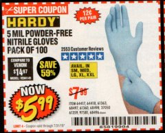 Harbor Freight Coupon POWDER-FREE NITRILE GLOVES PACK OF 100 (5 MIL) Lot No. 97581/97582/37051/37052/64417/64418/61363/68497/61360/61359/68498/68496 Valid Thru: 7/31/19 - $5.99