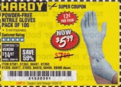 Harbor Freight Coupon POWDER-FREE NITRILE GLOVES PACK OF 100 (5 MIL) Lot No. 97581/97582/37051/37052/64417/64418/61363/68497/61360/61359/68498/68496 Valid Thru: 10/30/19 - $5.99