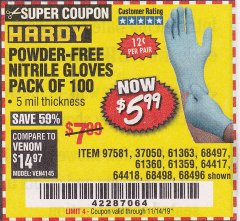 Harbor Freight Coupon POWDER-FREE NITRILE GLOVES PACK OF 100 (5 MIL) Lot No. 97581/97582/37051/37052/64417/64418/61363/68497/61360/61359/68498/68496 Valid Thru: 11/14/19 - $5.99