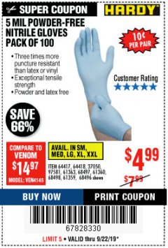 Harbor Freight Coupon POWDER-FREE NITRILE GLOVES PACK OF 100 (5 MIL) Lot No. 97581/97582/37051/37052/64417/64418/61363/68497/61360/61359/68498/68496 Valid Thru: 9/22/19 - $4.99