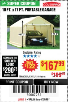 Harbor Freight Coupon 10 FT. X 17FT. PORTABLE GARAGE Lot No. 62859/63055/62860 Expired: 4/21/19 - $167.99