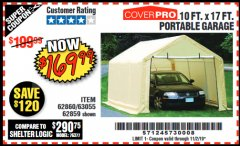 Harbor Freight Coupon 10 FT. X 17FT. PORTABLE GARAGE Lot No. 62859/63055/62860 Expired: 9/29/19 - $169.99