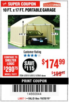 Harbor Freight Coupon 10 FT. X 17FT. PORTABLE GARAGE Lot No. 62859/63055/62860 Expired: 10/20/19 - $174.99